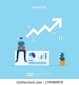 salary rate increase with growth up arrow and people character. business profit grow or income margin management revenue. Finance statistic performance of return on investment ROI illustration concept