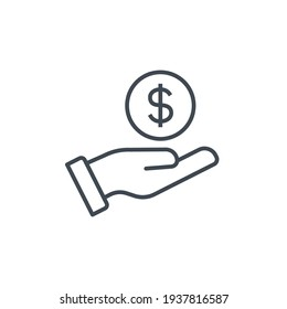 Salary, sell, money, business, buy, hand line icon. Simple outline style. Save, cash, coin, currency, dollar, finance concept. Vector illustration isolated on white background. EPS 10
