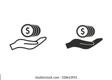 Salary vector icon. Black illustration isolated on white background for graphic and web design.
