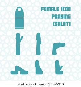 SALAT (PRAYING) ICON FEMALE WITH ISLAMIC GEOMETRIC PATTERN