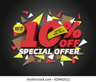 Sale 10% off with abstract triangle elements.