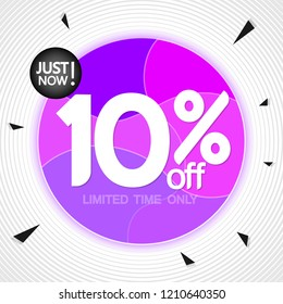 Sale 10% off, banner design template, extra discount tag, just now, vector illustration