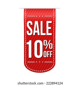 Sale 10% off banner design over a white background, vector illustration