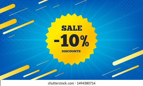 Sale 10 percent off badge. Discount banner shape. Coupon star icon. Abstract background. Modern concept design. Banner with offer badge. Vector