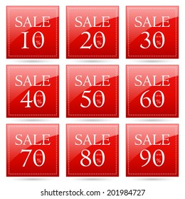 sale up to 10,20,30,40,50,60,70,80,90 percent on square red label set (vector)