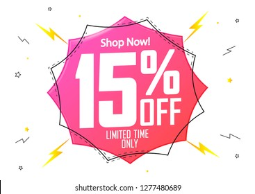 Sale 15% off, flash discount banner design template, limited time only, vector illustration