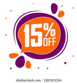 Sale 15% off tag, discount speech bubble banner design template, vector illustration
