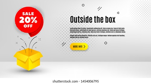 Sale 20% off badge. Abstract background. Discount banner shape. Coupon bubble icon. Outside the box concept. Banner with offer badge. Vector