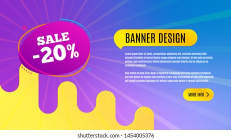 Sale 20% off badge. Discount banner shape. Coupon bubble icon. Abstract background design. Banner with offer badge. Vector
