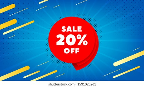 Sale 20% off badge. Discount banner shape. Coupon bubble icon. Abstract background. Modern concept design. Banner with offer badge. Vector
