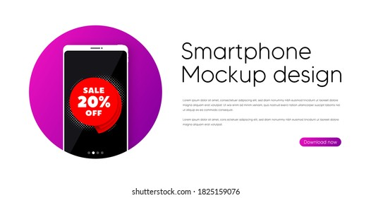 Sale 20% off banner. Phone vector mockup banner. Discount sticker shape. Coupon bubble icon. Smartphone mockup in circle. Sale 20% banner. Phone screen frame. Mobile background. Vector