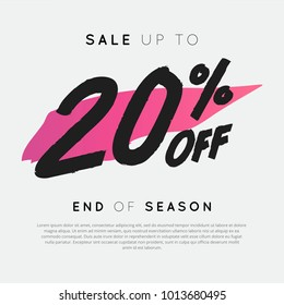 Sale up to 20% off End of Season. For Sale discount, Web Promotion, Poster Banner Background, Sign and symbol.