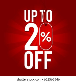 Sale Up to 20% off on red Background.