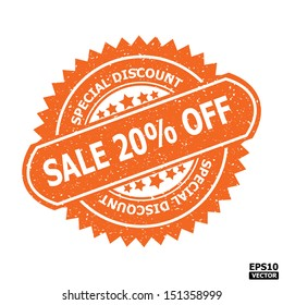 Sale 20% off rubber stamp sign.-eps10 vector