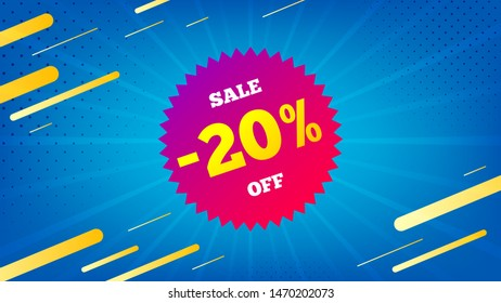 Sale 20 percent off badge. Discount banner shape. Coupon star icon. Abstract background. Modern concept design. Banner with offer badge. Vector
