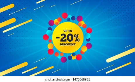 Sale 20 percent off badge. Discount banner shape. Coupon bubble icon. Abstract background. Modern concept design. Banner with offer badge. Vector