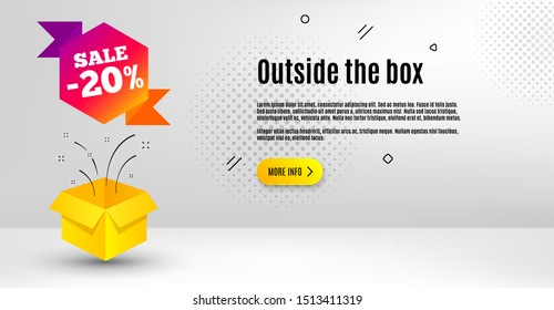 Sale 20 percent off badge. Abstract background. Discount banner shape. Coupon bubble icon. Outside the box concept. Banner with offer badge. Vector