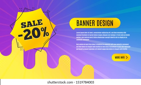 Sale 20 percent off badge. Discount banner shape. Coupon bubble icon. Abstract background design. Banner with offer badge. Vector