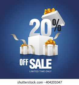 Sale 20 percent off card blue background