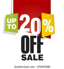Sale up to 20 percent off red background