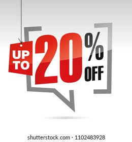 Sale up to 20 percent off solated sticker icon
