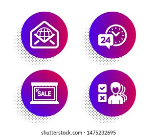 Sale, 24h service and Web mail icons simple set. Halftone dots button. Opinion sign. Shopping store, Call support, World communication. Choose answer. Business set. Classic flat sale icon. Vector