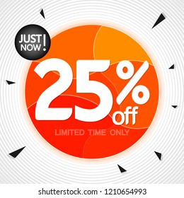 Sale 25% off, banner design template, extra discount tag, just now, vector illustration