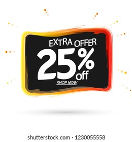 Sale 25% off, banner design template, extra offer, discount tag, vector illustration