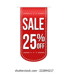 Sale 25% off banner design over a white background, vector illustration
