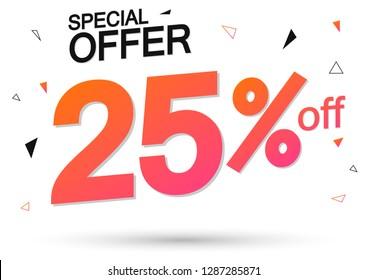 Sale 25% off, special offer, poster design template, vector illustration