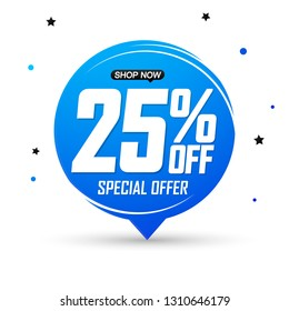 Sale 25% off tag, speech bubble banner design template, discount tag, special offer, app icon, vector illustration