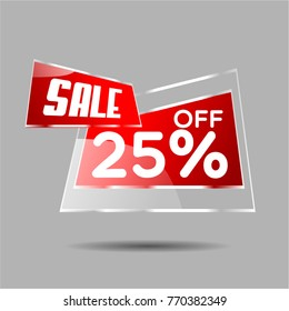 Sale 25% vector sale discount label for christmas and new year sale, flash sale
