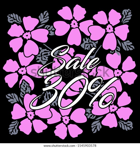sale 30%, beautiful greeting card background or banner with pink flower theme. design illustration