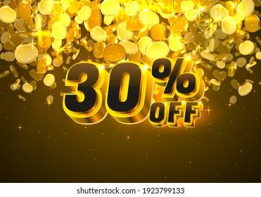 Sale 30 off banner, promotion discount flyer, Big win golden coins. Vector illustration