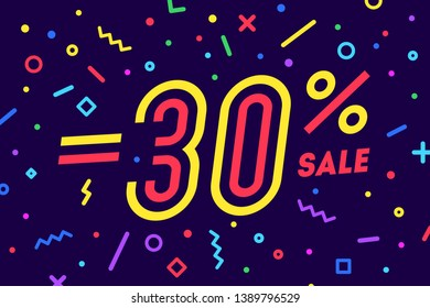 Sale -30 percent. Banner for discount, sale. Design of poster, flyer and banner in geometric memphis style with text -30 percent. Sticker, web banner for sale, discount. Vector Illustration