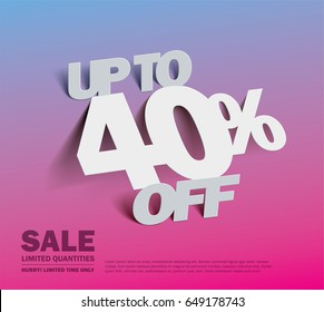 Sale 40% off banner. vector illustration
