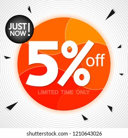 Sale 5% off, banner design template, extra discount tag, just now, vector illustration