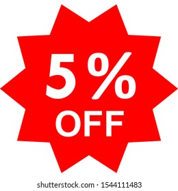 Sale - 5 percent off - red tag isolated - vector illustration