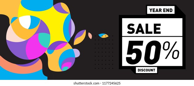 Sale 50% Discount Banner with Colorful Flat Background