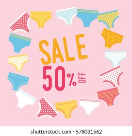 Sale 50% discount. Set with sexy female underwear. Collection of vintage girly panties.
