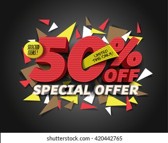 Sale 50% off with abstract triangle elements.