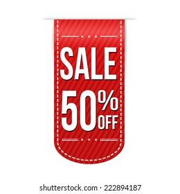 Sale 50% off banner design over a white background, vector illustration