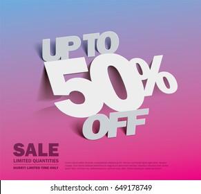 Sale 50% off banner. vector illustration