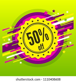 Sale 50 % off. Discount badge, stamp, sticker, tag, label. Sale poster. Fifty percent offer. Product promotion. Vector.