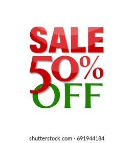 Sale 50% off label. Christmas holidays colors - red and green