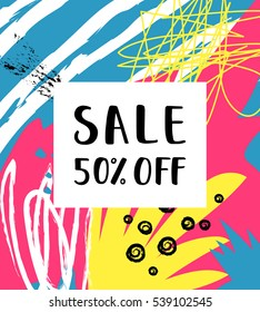 Sale 50% off Poster on the abstract background. Hand Drawn texture. Sale lettering. Artistic creative card. Vector Illustration.