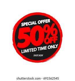 Sale 50% off, special offer, banner design template, vector illustration