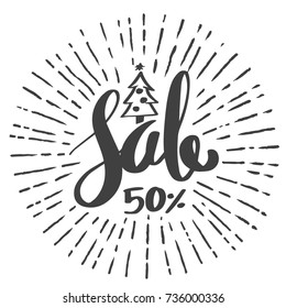 Sale 50 percent drawing style for Christmas promotion advertising. Vector illustration.