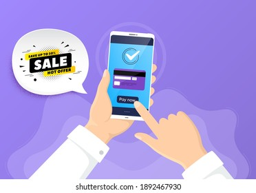 Sale 50 percent off banner. Pay by credit card from phone. Discount sticker shape. Coupon tag icon. Sale 50 badge. Online payment by credit card. Hand hold smartphone. Vector
