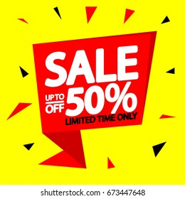 Sale up to 50 percent off, banner design template, vector illustration